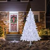 The Holiday Aisle® Artificial Christmas Tree, 6Ft Full Tree, w/ Metal Stand in White, Size 84.0 H x 20.0 W in | Wayfair