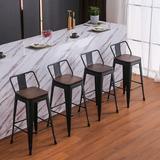 "Williston Forge Metal Barstools Set Of 4 Counter Bar Stools w/ Wood Top Low Back Matte Metal in Black, Size Bar Stool (30"" Seat Height) | Wayfair"
