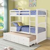 Harriet Bee Twin Bunk Bed w/ Ladder, Safety Rail, Twin Trundle Bed w/ 3 Drawers For Kids, Teens Bedroom, Guest Room Furniture() in White | Wayfair