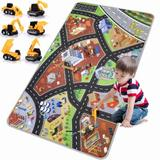 ZZGEN Play Mat Playroom Rug - 3D City Engineering Rugs Carpet w/ 8 Two-Way Hot Wheels Track, 6 Mini Engineer Pull Back Car Toys & Non-Slip Design F