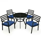 Costway 5PCS Outdoor Patio Dining Chair Table Set with Cushions