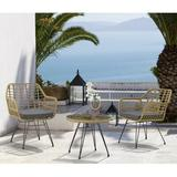 Wetiny Modern Rattan Coffee Chair Table Set 3 PCS, Outdoor Furniture Rattan Chair,Garden Set(Two Chair + One Table) Wicker/Rattan in Gray/Red/Yellow
