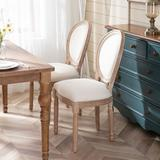 Laurel Foundry Modern Farmhouse® Feldt French Dining Chair w/ Wood Legs Set Of 2 Upholstered Fabric Chair Wood Side Chair Vanity Chair For Kitchen