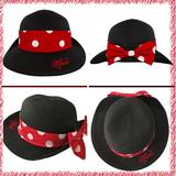 Disney Accessories | Disney Minnie Mouse Polka Dot Bow Straw Fedora | Color: Black/Red | Size: Os