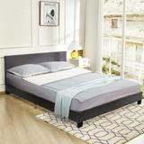 Costway Queen Upholstered Platform Bed Frame with Linen Headboard Wood Slat-Gray