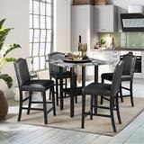 Red Barrel Studio® Dawn 5-Piece Classic Square Wood Dining Table Sets Wood/Upholstered Chairs in Gray, Size 36.0 H in   Wayfair