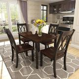 Red Barrel Studio® Melonie 5-Piece Dining Table Set Home Kitchen Table & Chairs Wood Dining Set (+Cherry) Wood in Black | Wayfair