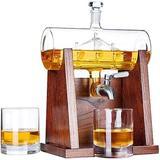 Loon Peak® Decanter Set,Whiskey Decanter w/ Whiskey Glasses, Size 17.7 H x 6.8 W in   Wayfair CC7771E840964CF5A408641C503A5F5D