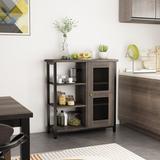 Gracie Oaks Iron 1 - Door Corner Accent Cabinet Wood/Metal in Black/Brown/Gray, Size 31.5 H x 29.5 W x 11.8 D in | Wayfair