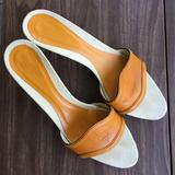 Gucci Shoes | Gucci Vintage Leather Mule Slides Kitten Heel 9.5 | Color: Gold/Yellow | Size: 9.5