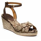 Coach Shoes | Coach Henley Espadrille Wedge Sandal Size 9 | Color: Brown/Tan | Size: 9