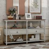 Canora Grey Neligh Rustic Console Table Sofa Table Wood in Gray, Size 32.0 H x 57.9 W x 14.0 D in   Wayfair 6C34ED0B3F3F4CABAA825897F8B523CF