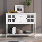 Rosecliff Heights Sideboard Console Table w/ Bottom Shelf, Farmhouse Wood/Glass Buffet Storage Cabinet Living Room, Size 34.2 H x 42.0 W x 14.0 D in