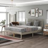 Latitude Run® Wood Platform Bed w/ Headboard-Full Size Wood in Gray, Size 40.3 H x 63.3 W x 77.5 D in   Wayfair 5373B92356304082AC399F1CEB48C0FA
