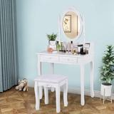 Rosdorf Park Vanity Table Set w/ Oval Mirror & 4 Drawers, Wood Makeup Dressing Table w/ Cushioned Stool,Removable Writing Desk in Brown/White