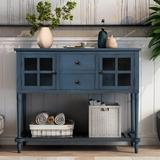 Breakwater Bay Sideboard Console Table w/ Bottom Shelf, Farmhouse Wood/Glass Buffet Storage Cabinet Living Room Wood in Blue | Wayfair
