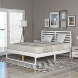 Latitude Run® Wood Platform Bed w/ Headboard-Full Size Wood in White, Size 40.3 H x 63.3 W x 77.5 D in   Wayfair 5AE56F518C5948A993720B4801E7C292