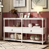 Canora Grey Neligh Rustic Console Table Sofa Table Wood in White, Size 32.0 H x 57.9 W x 14.0 D in   Wayfair 96EDFD97E46447E99181003C67C2FF4E