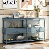 Canora Grey Neligh Rustic Console Table Sofa Table Wood in Blue, Size 32.0 H x 57.9 W x 14.0 D in   Wayfair 792D34B731974ABFAD32481AE7215384