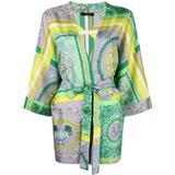 Baroque-print Silk Robe - Green - Versace Nightwear
