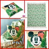 Disney Bedding | Mickey & Minnie Tropical Throw Blanket Pillow Set | Color: Cream/Green | Size: Os