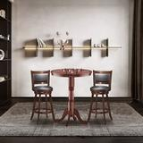 """Alcott Hill® 5pcs Pub Table Set 30"""" Round Bar Height Table & 4pcs Swivel Bar Stools Wood/Upholstered Chairs in Black/Brown/Orange, Size 41.5 H in"""