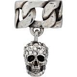 Silver Skull Ear Cuff - Black - Alexander McQueen Rings