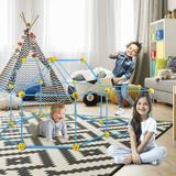 Shinerfier Fort Construction Building Kit 85 PCS Stem Toys For 4 5 6 7 8 9 Year Old Boys Girls Indoor Outdoor Toys in Blue/Yellow   Wayfair