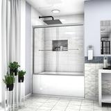 """Commodland 60"""" W x 58"""" H Bypass Frameless Tub Door Tempered Glass in Gray, Size 58.0 H in   Wayfair QQHMS6A22-1-606SS"""