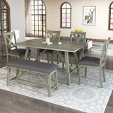 Rosalind Wheeler Wood Fabric Dining Table Set w/ 4 Chairs 1 Bench Kitchen Restaurant Decor Wood in Brown/Gray, Size 30.0 H in | Wayfair