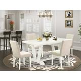 Winston Porter Ain 5-Pc Dinette Set - 4 Kitchen Chairs & 1 Modern Rectangular Wire Brushed Black Kitchen Table w/ High Chair Back in White | Wayfair