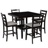 Red Barrel Studio® 5-Piece Wooden Counter Height Dining Set w/ Padded Chairs & Storage Shelving, Espresso Wood/Upholstered Chairs in Brown   Wayfair