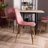 Everly Quinn Dining Chairs Set Of 4 Side Chairs Wood/Upholstered in Pink/Yellow, Size 33.9 H x 17.0 W x 18.0 D in   Wayfair