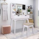 Wade Logan® Nelsonville Black Vanity Set w/ 3 Models LED Lighted Mirror,Removable Jewelry Box & Cushioned Stool in White | Wayfair