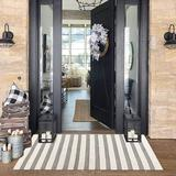 Rosecliff Heights Boho Stripe Runner Rug Doormat 2' X 4.3' Farmhouse Cotton Hand Woven Throw Area Rugs w/ Tassels Washable Fringe Floor Rug For Bathroom Kitchen Cotton