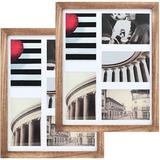 Gracie Oaks 11X14 Picture Frames Rustic Wood Picture Frames For Wall Solid Wood in Black/Brown/White, Size 15.0 H x 12.0 W x 0.7 D in | Wayfair