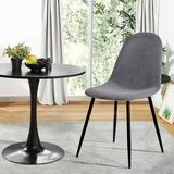 Everly Quinn Dining Chairs Set Of 4 Side Chairs Wood/Upholstered in Gray/Black, Size 33.9 H x 17.0 W x 18.0 D in   Wayfair