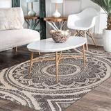 Bungalow Rose Cotton Mandala Area Rug 4' X 6' Boho Woven Tufted Print Fringe Tassels Throw Rugs Chic Black in White, Size 48.0 W x 0.18 D in Wayfair