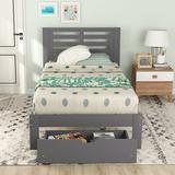 Red Barrel Studio® Wood Platform Bed w/ Drawer, Wood Slat Support Solid Wood Platform Bed w/ Headboard No Box Spring Needed Wood in Gray | Wayfair