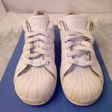 Adidas Shoes   Adidas Superstar Shell Toe Boy Sneakers White Sz 2   Color: White   Size: 2b