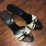 Gucci Shoes | Gucci Tie Front Slide Sandals With Gg | Color: Brown/Cream | Size: 8.5