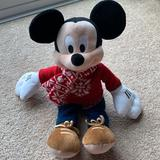 Disney Toys   Disney Christmas Mickey Mouse Plush   Color: Black/Red   Size: 18 Inches