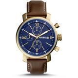 Rhett Chronograph Brown Leather Watch - Brown - Fossil Watches