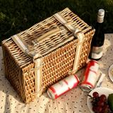 tarye Willow Picnic Basket Set For 4 Persons w/ Large Insulated Cooler Bag & Waterproof Picnic Blanket,Wicker Picnic Hamper For Camping,Outdoor
