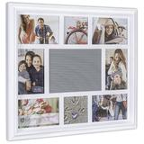 Malden Int Designs 8-Opening Letterboard Collage Photo Wall Frame Plastic in White, Size 17.0 H x 1.4 D in | Wayfair 9186-08