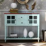 Darby Home Co Sideboard Console Table w/ Bottom Shelf, Farmhouse Wood/Glass Buffet Storage Cabinet Living Room (Antique Grey) Wood in Blue | Wayfair