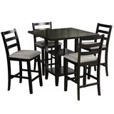 Red Barrel Studio® 5-Piece Wooden Counter Height Dining Set, Square Dining Table w/ 2-Tier Storage Shelving & 4 Padded Chairs in Brown | Wayfair