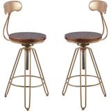 Everly Quinn Set Of 2-Gold Metal Swivel Adjustable Kitchen Counter Stools w/ Back Bar Height Stool-Brown Wood Modern Industrial Cafe Stool Wood/Metal
