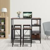 Latitude Run® 5 Piece Counter Height Dining Table Set, Industrial Style Bar Pub Table w/ 4 Backless Bar Stools For Home, Oak Finish Wood | Wayfair
