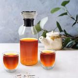 Orren Ellis Glass Pitcher w/ Lid 6 Piece Set, 32 Ounces High Borosilicate, Heat Resistance For Hot/Cold Beverages, Dishwasher Safe in White | Wayfair
